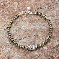 Unakite beaded bracelet, 'Forest Harmony' - Hill Tribe Unakite Beaded Bracelet from Thailand