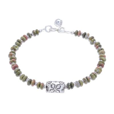 Unakite beaded bracelet, 'Forest Harmony' - Hill Tribe Unakite Beaded Bracelet from Thailand