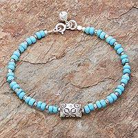 Silver beaded bracelet, 'Sky Harmony' - Karen Hill Tribe Silver and Recon. Turquoise Bracelet