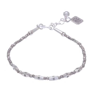 Silver beaded bracelet, 'Voice of the Garden' - Hill Tribe Silver Beaded Bracelet Crafted in Thailand
