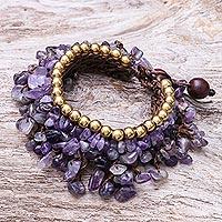 Amethyst beaded charm bracelet, 'Bohemian Luster' - Amethyst Beaded Charm Bracelet Crafted in Thailand