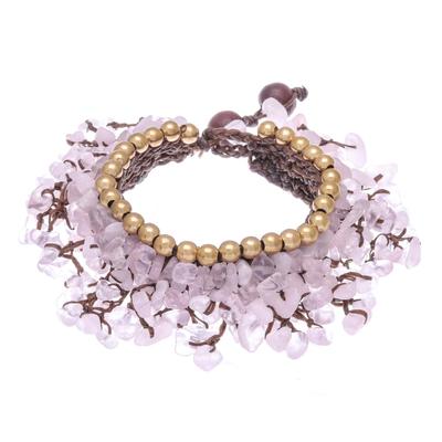 Rose Quartz Beaded Charm Bracelet Crafted in Thailand