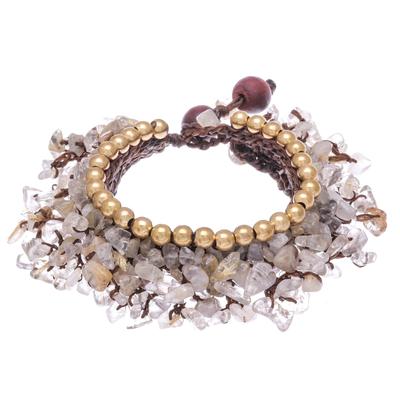 Quartz Beaded Charm Bracelet Crafted in Thailand