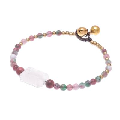 Rose Quartz and Agate Beaded Pendant Bracelet from Thailand
