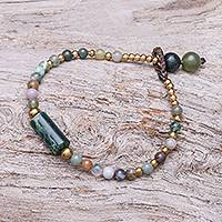 Agate beaded pendant bracelet, 'Boho Thai' - Colorful Agate Beaded Pendant Bracelet from Thailand