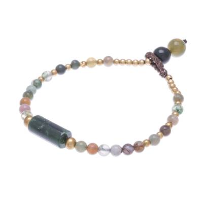 Colorful Agate Beaded Pendant Bracelet from Thailand