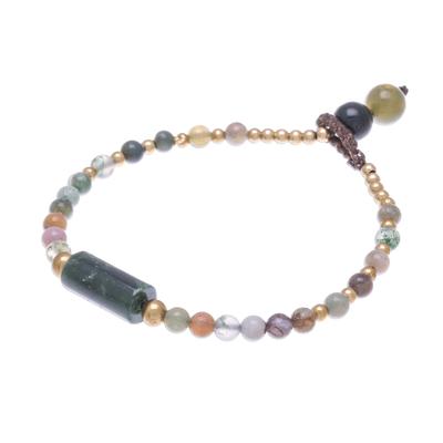 Agate beaded pendant bracelet, 'Boho Thai' - Colorful Agate Beaded Pendant Bracelet from Thailand