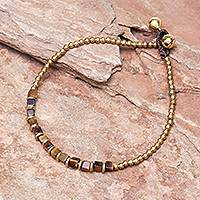 Tiger's eye beaded anklet, 'Cube Beauty' - Beaded Anklet with Cube Tiger's Eye from Thailand