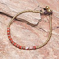 Jasper beaded anklet, 'Cube Beauty' - Beaded Anklet with Cube Jasper from Thailand