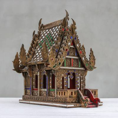 Wood spirit house, 'Lanna Temple' (16 inch) - Wood and Glass Spirit House Handcrafted in Thailand (16 in.)