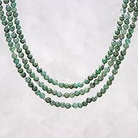 Jade beaded strand necklace, 'Green Holiday'