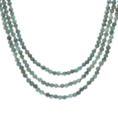 Jade beaded strand necklace, 'Green Holiday' - Jade Beaded Strand Necklace from Thailand