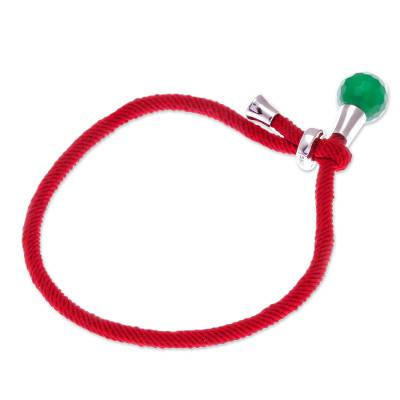 Jade pendant bracelet, 'Lucky Red String' - Jade Pendant Bracelet with Red Cord from Thailand