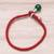 Jade pendant bracelet, 'Lucky Red String' - Jade Pendant Bracelet with Red Cord from Thailand (image 2c) thumbail