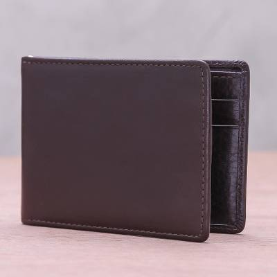 Men's leather wallet, 'Executive Espresso' - Men's Espresso Leather Wallet with Money Clip from Thailand