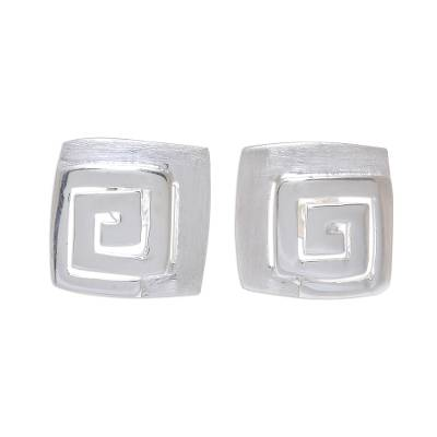 Spiral Pattern Square Sterling Silver Stud Earrings