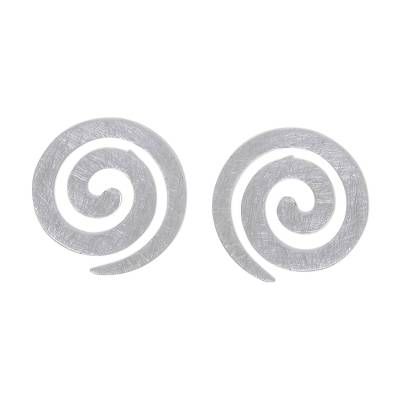 Spiral-Shaped Sterling Silver Button Earrings from Thailand