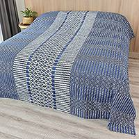 Cotton batik bedspread, 'Dramatic Pathways' (queen) - Handcrafted Indigo Geometric Batik Cotton Queen Bedspread