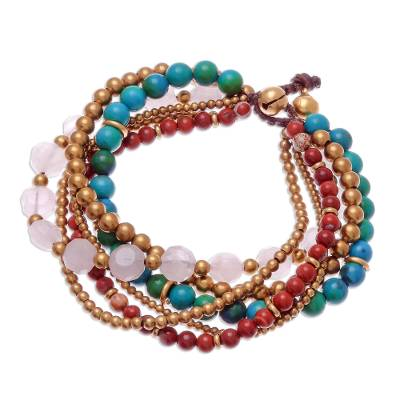 Multi-Gem Beaded Torsade Bracelet Crafted in Thailand