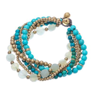 Multi-gemstone beaded torsade bracelet, 'Thai Calm' - Thai Multi-Gemstone Beaded Torsade Bracelet with Bells