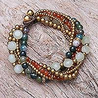Multi-gemstone beaded torsade bracelet, 'Thai Vibrance' - Multi-Gemstone Beaded Torsade Bracelet with Bells