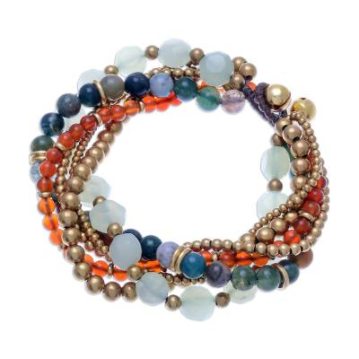Multi-Gemstone Beaded Torsade Bracelet with Bells