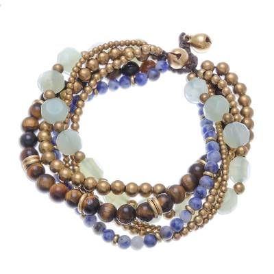 Multi-Gemstone Beaded Torsade Bracelet from Thailand