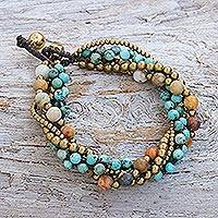 Agate and calcite beaded torsade bracelet, 'Wonderful Mood' - Agate and Calcite Beaded Torsade Bracelet from Thailand