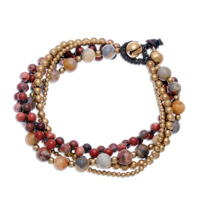 Agate and Jasper Beaded Torsade Bracelet from Thailand