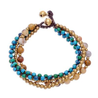 Agate and Serpentine Beaded Torsade Bracelet from Thailand