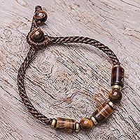 Tiger's eye beaded pendant bracelet, 'Nature Made' - Tiger's Eye Beaded Pendant Bracelet from Thailand