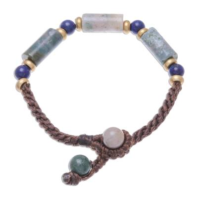 Agate and Lapis Lazuli Beaded Pendant Bracelet