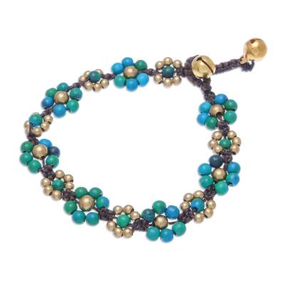 Serpentine beaded macrame bracelet, 'Blooming with Love' - Serpentine Beaded Macrame Bracelet from Thailand