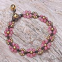 Quartz beaded macrame bracelet, 'Blooming with Love' - Pink Quartz Beaded Macrame Bracelet from Thailand