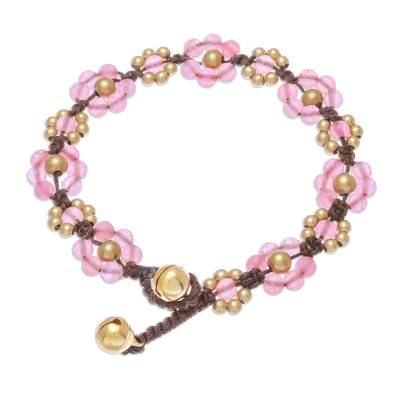 Pink Quartz Beaded Macrame Bracelet from Thailand