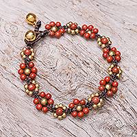 Jasper beaded macrame bracelet, 'Blooming with Love' - Jasper Beaded Macrame Bracelet from Thailand
