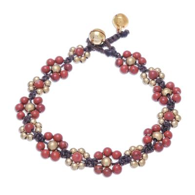 Jasper beaded macrame bracelet, 'Blooming with Love' - Jasper Beaded Macrame Bracelet from Thailand