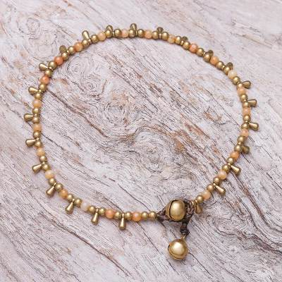 Quartz beaded charm anklet, 'Bohemian Shower in Orange' - Orange Quartz Beaded Charm Anklet from Thailand