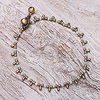 Quartz beaded charm anklet, 'Bohemian Shower in Blue' - Blue Quartz Beaded Charm Anklet from Thailand