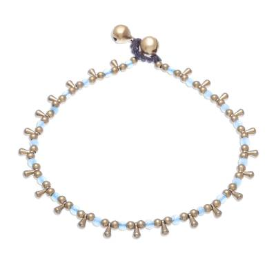 Blue Quartz Beaded Charm Anklet from Thailand