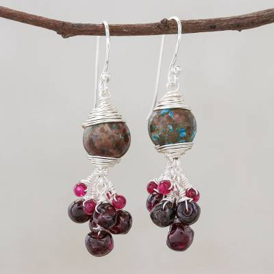 Multi-gemstone cluster dangle earrings, 'Red Forest' - Multi-Gemstone Cluster Dangle Earrings from Thailand