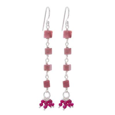 Rhodonite and Quartz Cluster Dangle Earrings from Thailand