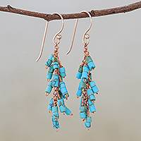 Reconstituted turquoise cluster dangle earrings, 'Diver's Passion' - Reconstituted Turquoise Beaded Cluster Dangle Earrings