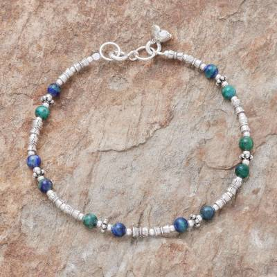 Azure-malachite beaded bracelet, 'Antique Hill Tribe' - Hill Tribe Azure-Malachite Beaded Bracelet from Thailand