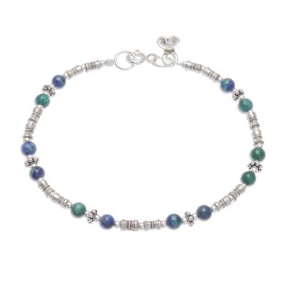Azure-malachite beaded bracelet, 'Antique Hill Tribe' - Hill Tribe Azure-Malachite Beaded Bracelet from Thailand