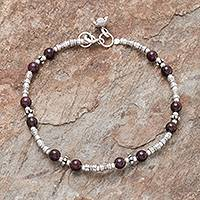 Garnet beaded bracelet, 'Antique Hill Tribe' - Hill Tribe Garnet Beaded Bracelet from Thailand