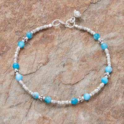 Apatite beaded bracelet, 'Antique Hill Tribe' - Hill Tribe Apatite Beaded Bracelet from Thailand