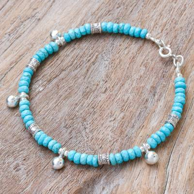 Silver beaded charm bracelet, 'Lovely Sky' - Karen Silver and Recon. Turquoise Beaded Charm Bracelet