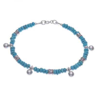 Karen Silver and Recon. Turquoise Beaded Charm Bracelet
