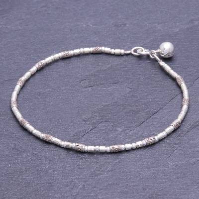 Silver beaded bracelet, 'Hill Tribe Ring' - Karen Silver Beaded Bracelet with Ringing Bell from Thailand